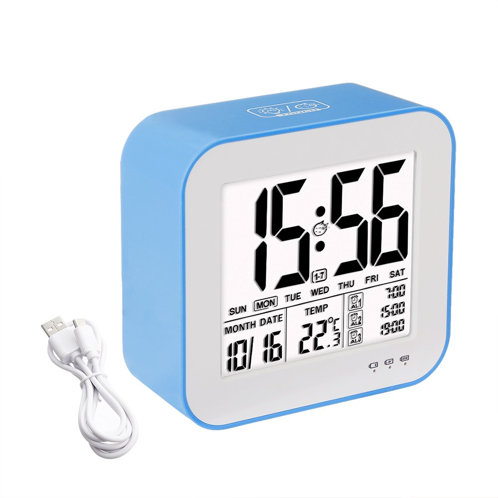Alarm Clock Tsumbay 3 Alarm Options Large Display Digital Clock USB Rechargeable with Calendar Touch Sensor Backlight Snooze 3 Workday Mode Temperature for Kids Bedrooms Home Office Blue
