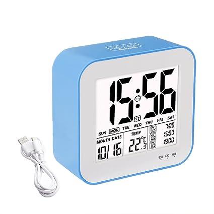 Despertador digital Reloj 3 opciones de alarma, tsumbay gran pantalla escritorio reloj despertador reloj USB