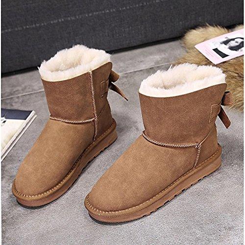 botas tacón redonda negro Zapatos PU mujer puntera planas Beige botas Calf Mid Black Casual Khaki Nieve para de Bowknot botas HSXZ de invierno del Spq7qwx68