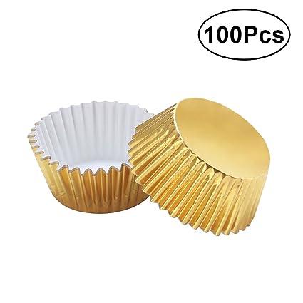 ULTNICE Moldes para Cupcakes Muffins Capsulas Magdalenas de Aluminio 100 Unids (Oro)