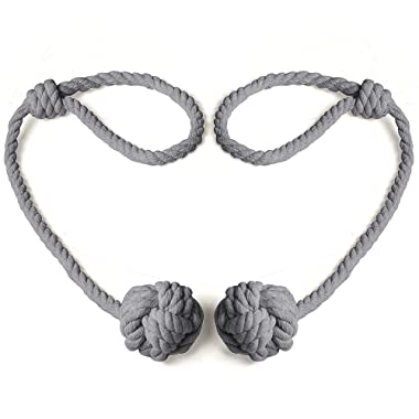 BUZIO 1 Pair Blackout Curtain Rope Tieback, Hand-Knitted Cord Rustic Cotton Holdbacks - Easy Knot Loop Connection, Gray