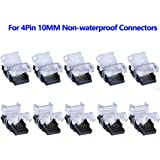 SUPERNIGHT 10 Pack 4 Pin LED Connector for Non-Waterproof 10mm RGB 5050 5630 LED Strip Lights, Strip to Wire Quick…
