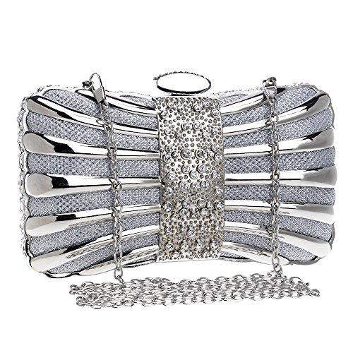 donna Borsa delle signore metallo con borsa frizione in borsa sera banchetto da Silver gqqRf