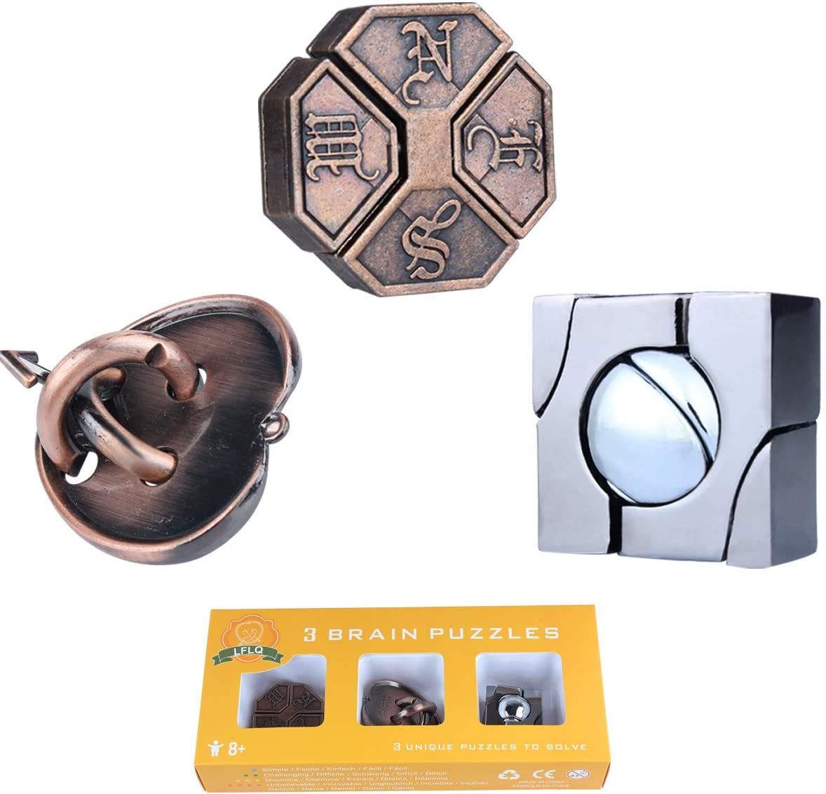 Handheld 3D Unlock Interlocking Puzzle Metal Knot Puzzle Mind Games for Adults Teens Educational Toy 3 Pieces Brain Teaser Metal Puzzle Toy