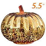 Halloween Pumpkin Lantern Light, Jack o Lantern Decorative Pumpkins Mercury Glass Decor Fall Decorations Led Timer Candles Battery Operated Medium