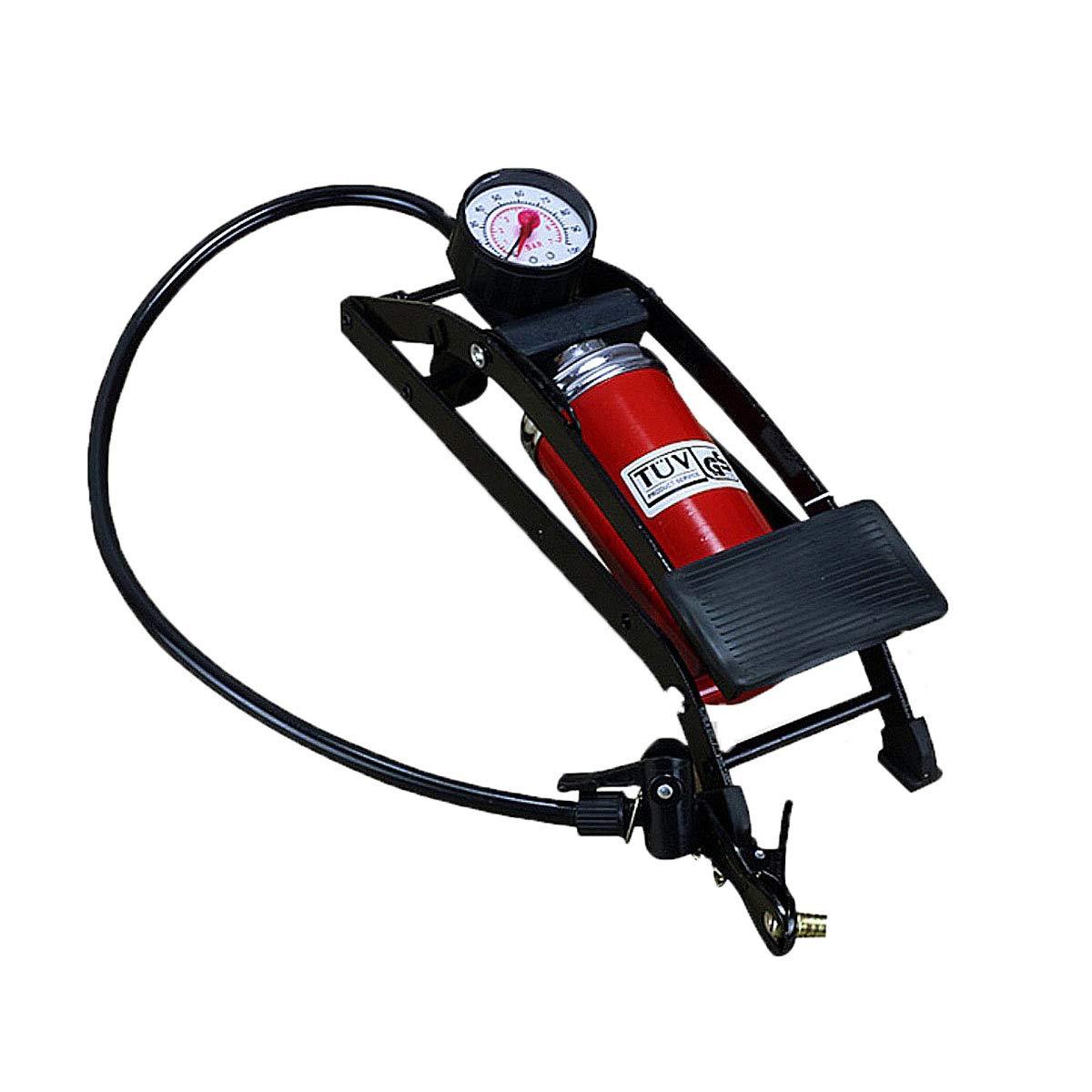 DownBeat Doppelzylinder-Fußpumpe mit Manometer und mit universal-pumpekopf für FV/AV/DV