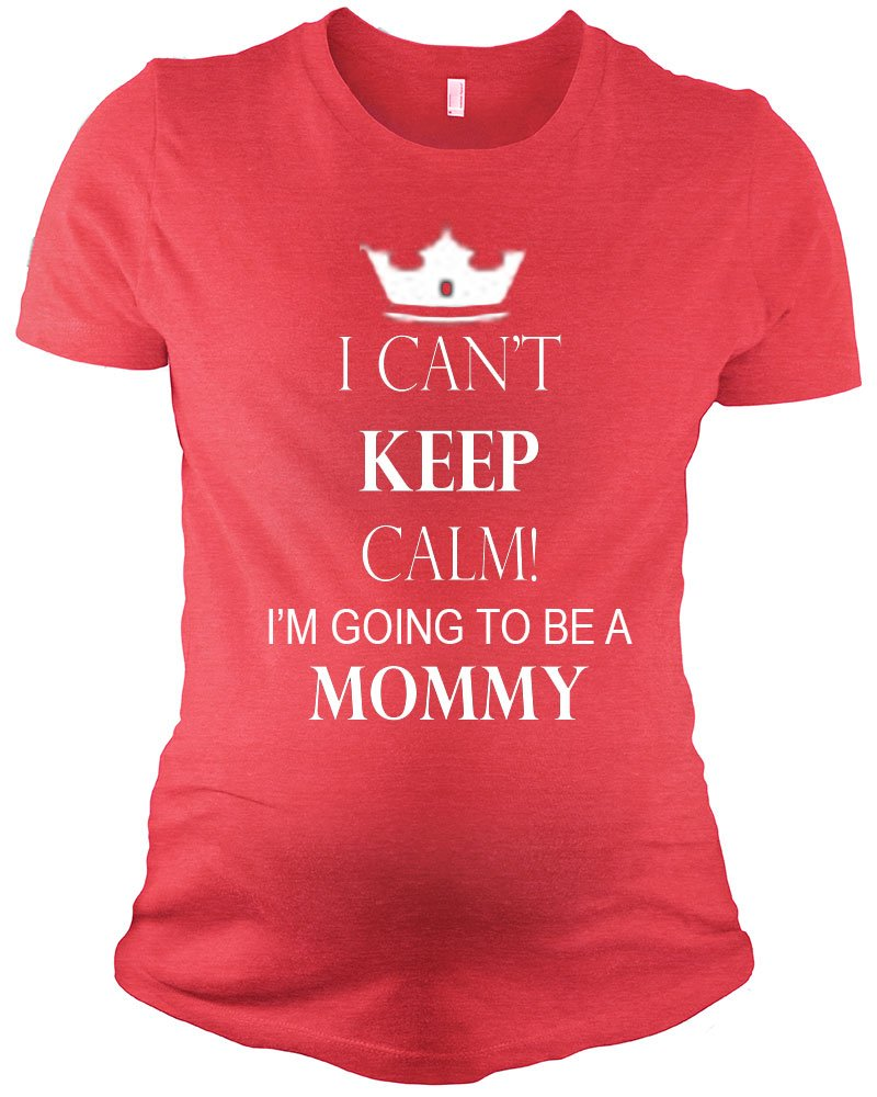 Maternity Short Sleeve T-Shirt - Can't Keep Calm I am going to be Mommy, Red, L