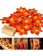HENMI Fall Maple Leaf Garland 20 LED Maple Leaves Fairy Lights 7.9 Feet Fall Garland Lights Waterproof Maple Leaf String Lights 3AA Battery Powered Lighted Garland for Party Thanksgiving Decor Halloween