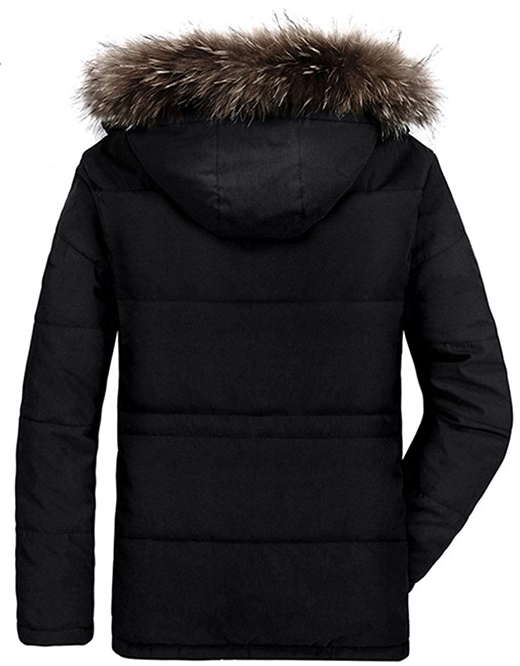 Mens Parka Winter Coats Jackets with Faux Fur Lined Thicken Warm Coat Hooded