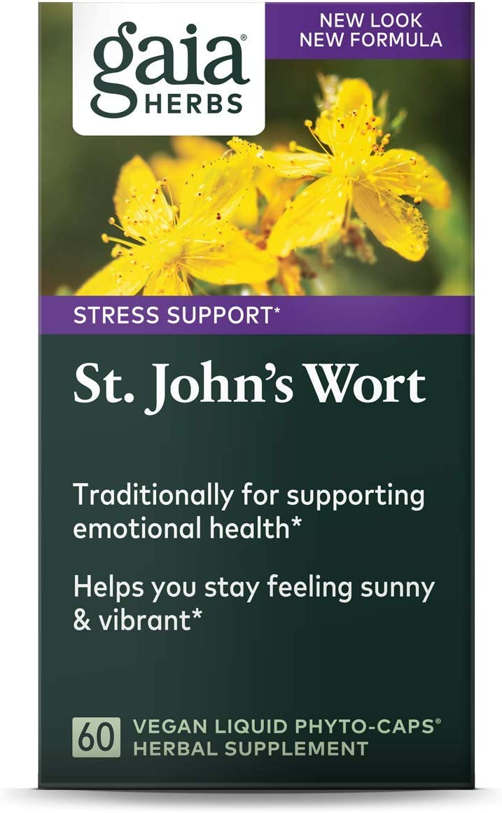 Gaia Herbs St. John's Wort, Vegan Liquid Capsules, 60 Count - Stress Support to Promote a Positive and Sunny Mood: Health & Personal Care