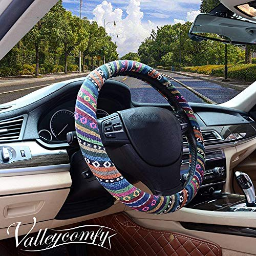 (Valleycomfy Boho Universal 15 inch Steering Wheel Covers with Cloth for Women)