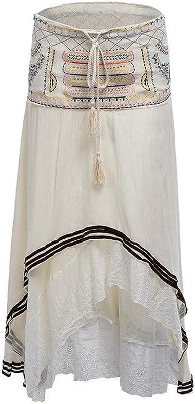 Bordado Bohemio Mujer Falda de Verano Gitana Algodón con ...