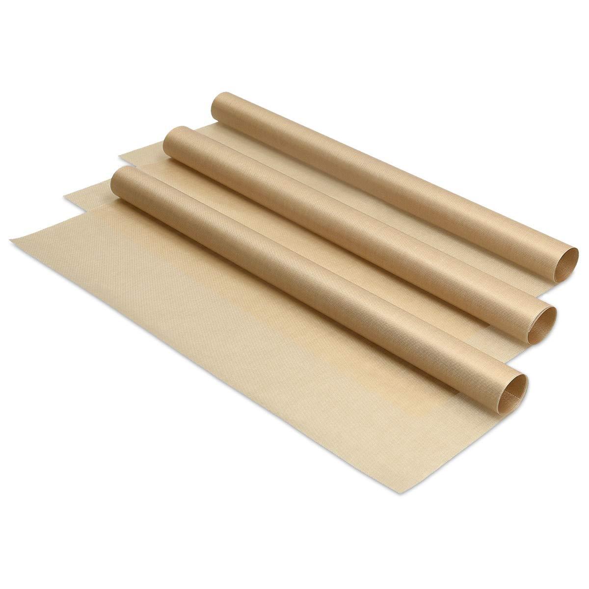 Navaris 3x Reusable Baking Sheets - 33x40cm Parchment Paper for Baking Oven - Durable Non-Stick Baking Mats - Reversible Baking Tray - Set of 3 Pieces