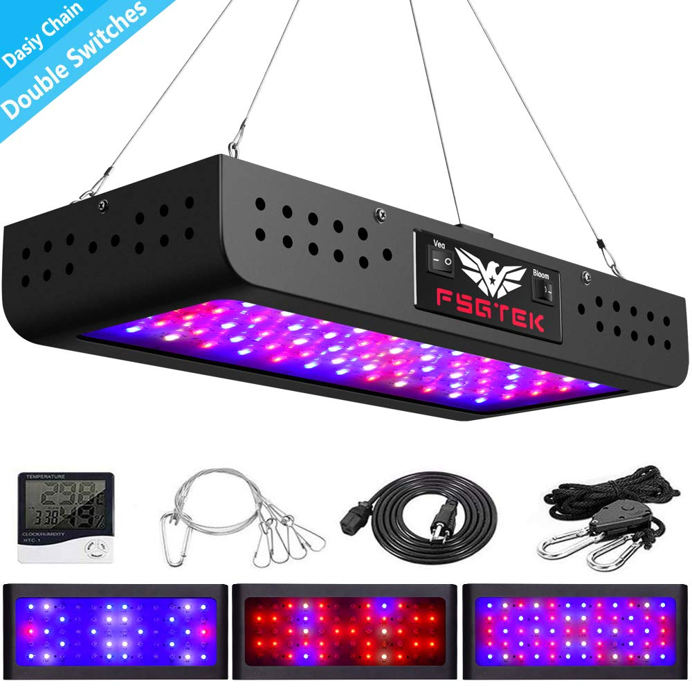 600W LED Grow Light Double Switch with Daisy Chain,Temperature and Humidity Monitor, Adjustable Rope, FSGTEK Full Spectrum Grow Lamp for Indoor Hydroponic Plants Vegetative and Flowering