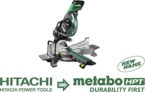 Metabo HPT C10FSHC 10 Sliding Dual Compound Miter Saw with Laser Marker, Zero Rear Clearance Slide System, Ergonomic Upfront Bevel Lock, Includes 10 40T TCT Miter Saw Blade