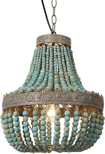 Newrays Wood Bead Chandelier Pendant Lights Gray Blue Finishing Retro Vintage Antique Rustic Kitchen Ceiling Lamp Light Fixtures Grey Blue