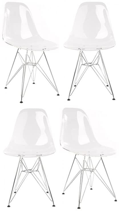 4 X DSW Molded Clear Plastic Dining Shell Chair With Steel Legs