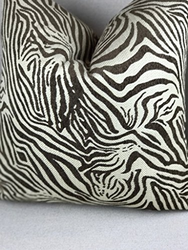 Zebra Chenille Pillow Cover | Brown Animal Print Throw Pillow - Classic Sofa Chenille