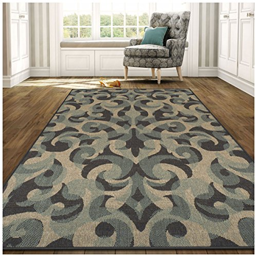 Superior Aldaine Collection 5 x 8 Area Rug, Indoor Outdoor Rug with Jute Backing, Durable and Beautiful Woven Structure, Textured Grey, Beige, and Teal Damask Pattern