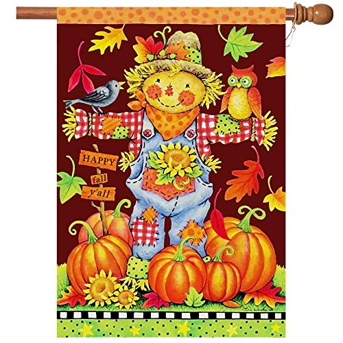 Fall House Flags Double Sided Autumn Flag Scarecrow Harvest Pumpkin Yard Decorations Happy Fall Garden Flags 28 x 40 Inch Large Fall Yall Flags with 2 Grommets (House Flags 28 X 40)