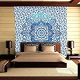 Womencrafts King Size Hippie Ombre Mandala Tapestry Throw Indian Mandala Wall Hanging Decorative Wall Tapestry Bohemian Decor Bedspread Handmade Cotton Coverlet (108 x 108 Inch,)