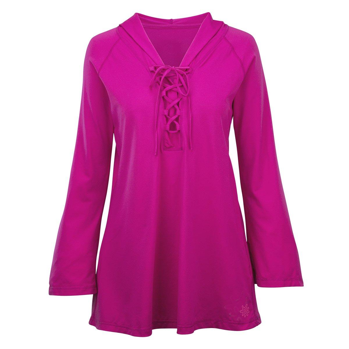 UV SKINZ UPF50+ Womens Hooded Beach Cover Up-Hot Pink-XL