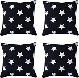SOMIDE Pack of 4 Outdoor Waterproof Pillow Covers, Square Decorative Patio Garden Cushion Case Throw Pillowcase for Patio Tent Couch Sofa Chair 18x18 Inch Black