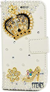 STENES Bling Wallet Case Compatible Google Pixel 2 XL - Stylish - 3D Handmade Crown Girls High Heel Flowers Leather Cover with Neck Strap Lanyard [3 Pack] - Gold