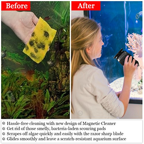 Image of Aquarium Magnetic Glass Cleaner - Strong Magnet facilitates Easy Algae Removal - Keeps Your Hands Dry, Contamination-Free - Floating Inside Brush Stays Gravel-Free - Makes for Scratch-Free Cleaning