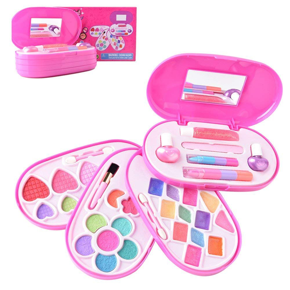 BonnieSun Kids Makeup Kits Girls Washable Cosmetics Dress-up Toys Safety Tested Vanity Deluxe Beauty Palette Set Mirror by BonnieSun (Image #1)