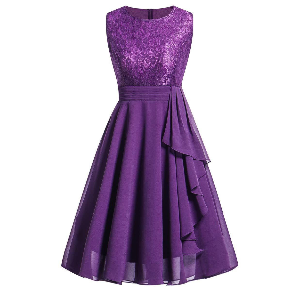 Women Cocktail Dress,Formal Lace Sleeveless Wedding Bridesmaid Short Mini Dress Han Shi(Purple,M)