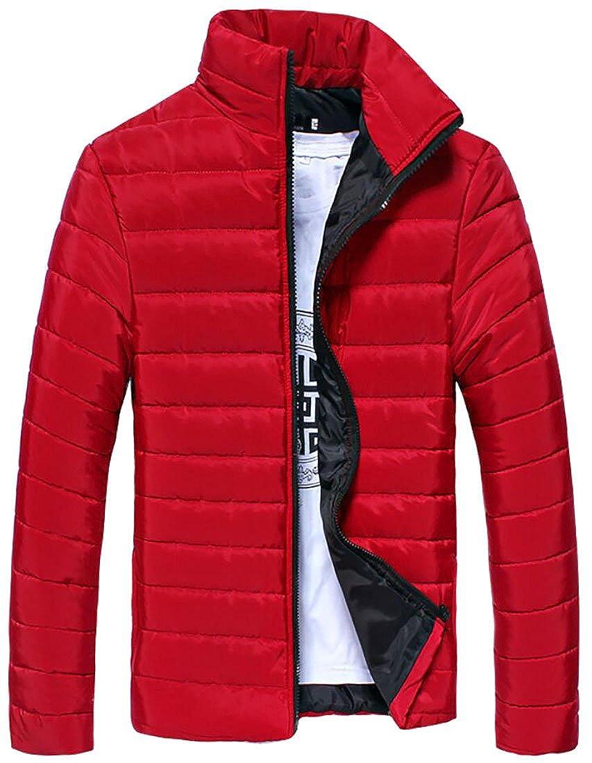 Spirio Men's Outwear Winter Slim Fit Front-Zip Quilted Down Jackets Coat