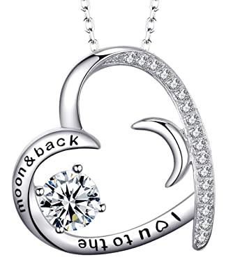 c76db4b89 Mothers Day Necklace Gift for Mom Sterling Silver Jewelry Love Heart Half  Moon Simulated Diamond Necklace