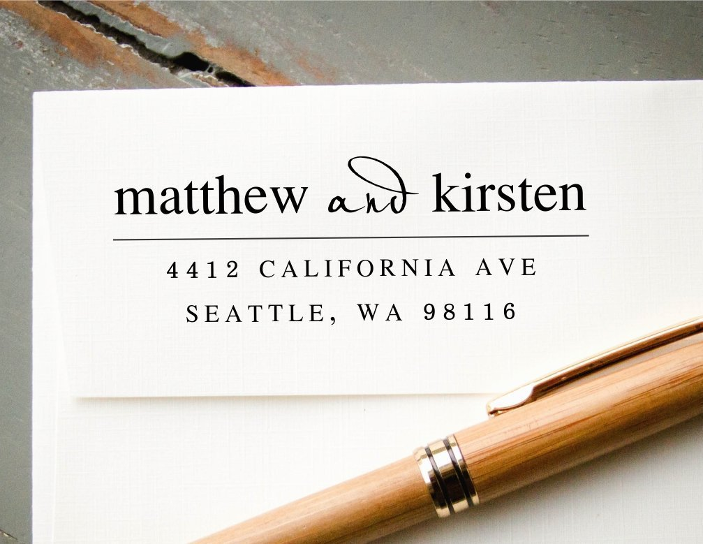 Self-Inking Custom Address Stamp, White Ink Personalized Rubber Stamp, Wedding Invitation Stamp