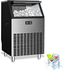 Kismile Commercial Ice Maker Machine,Freestanding Ice Cube Maker Makes 200 lbs /24 hrs with 48 Pounds Storage Capacity,Ideal for Restaurants,Bars,Homes and Office Includes Scoop and Connection Hose