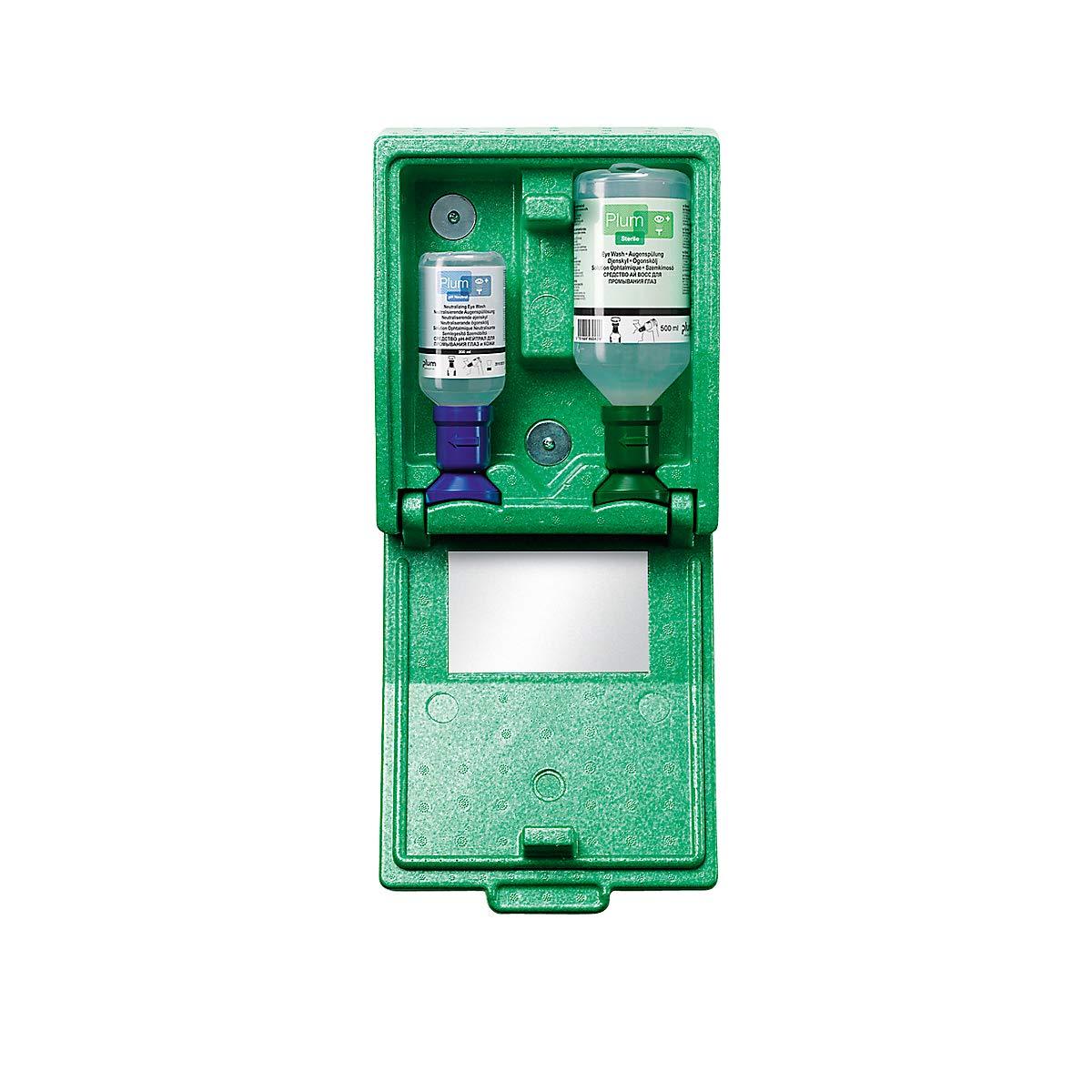 Notfall-Wandbox mit Augenspülflaschen - 1 x Kochsalzlösung, 1 x pH-neutral - HxBxT 270 x 225 x 110 mm - Augendusche Augennotdusche Augenspülflasche