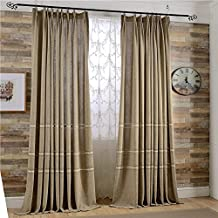 """Leyden Pleated Top Classic Solid Coffee Jacquard Linen Curtains Curtain Drapes - 72Wx96""""L Multi Size Customizable(One Panel)"""