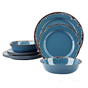Melamine Camping Dinnerware Set - Yinshine 12 PCS Dinner Dishes Set Service for 4, Blue