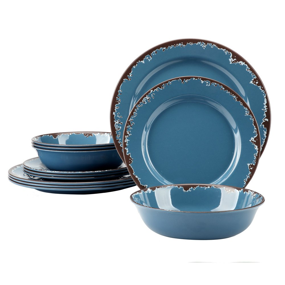 melamine dinnerware plates dishes bowl kitchen light weight blue dinner set 12pc - Melamine Dishes