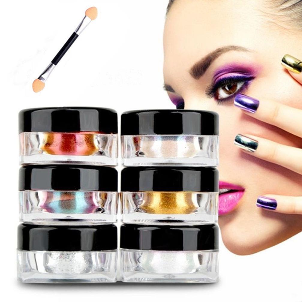Coolster 12 Boxen 12 Farben Box Chrome Pigment DIY Nail Art Nail Make-up Glitzer Shinning Pulver & mit Schwamm Stick