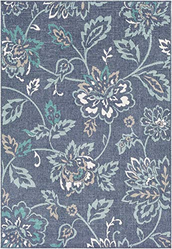 Lamb Floral Outdoor Blue 6' x 9' Rectangle Indoor/Outdoor 100% Olefin Charcoal/Aqua/Taupe/White/Teal Area Rug