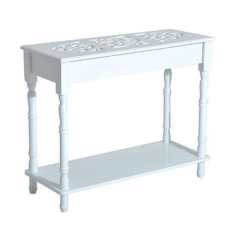 HOMCOM - Tavolino Consolle per Ingresso Moderno in Legno Bianco, 89 ...