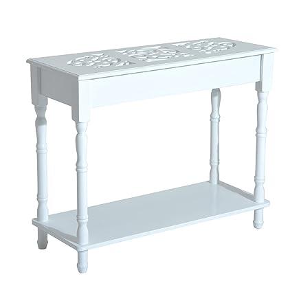 HOMCOM - Tavolino Consolle per Ingresso Moderno in Legno Bianco ...