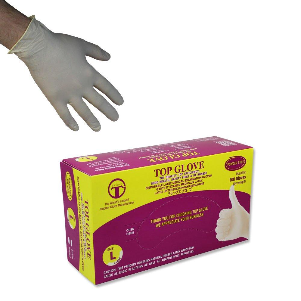 トップグローブパウダーフリーの使い捨てラテックス手袋 - AQL 1.5-100個入り(ミディアム) B00A221U4G