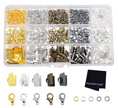 Mandala Crafts Fold Over Cord End, Ribbon Clamp with Loop, Crimp Pinch Clasp Finding Box Kit for Bookmark, Jewelry Making (Silver Gold Platinum Gun Metal Antique Bronze - Gold Bead Metal Antique