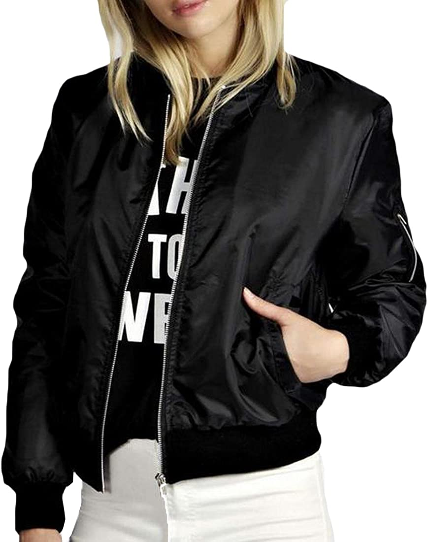Abetteric Stand Collar Womens with Zips Fitted Bomber Jacket