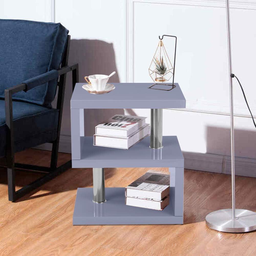 Goedkoop Goldfan Bijzettafel, wit, hoogglans, salontafel, woonkamertafel, koffietafel modern 44x38x52cm grijs grijs ftG3H5b