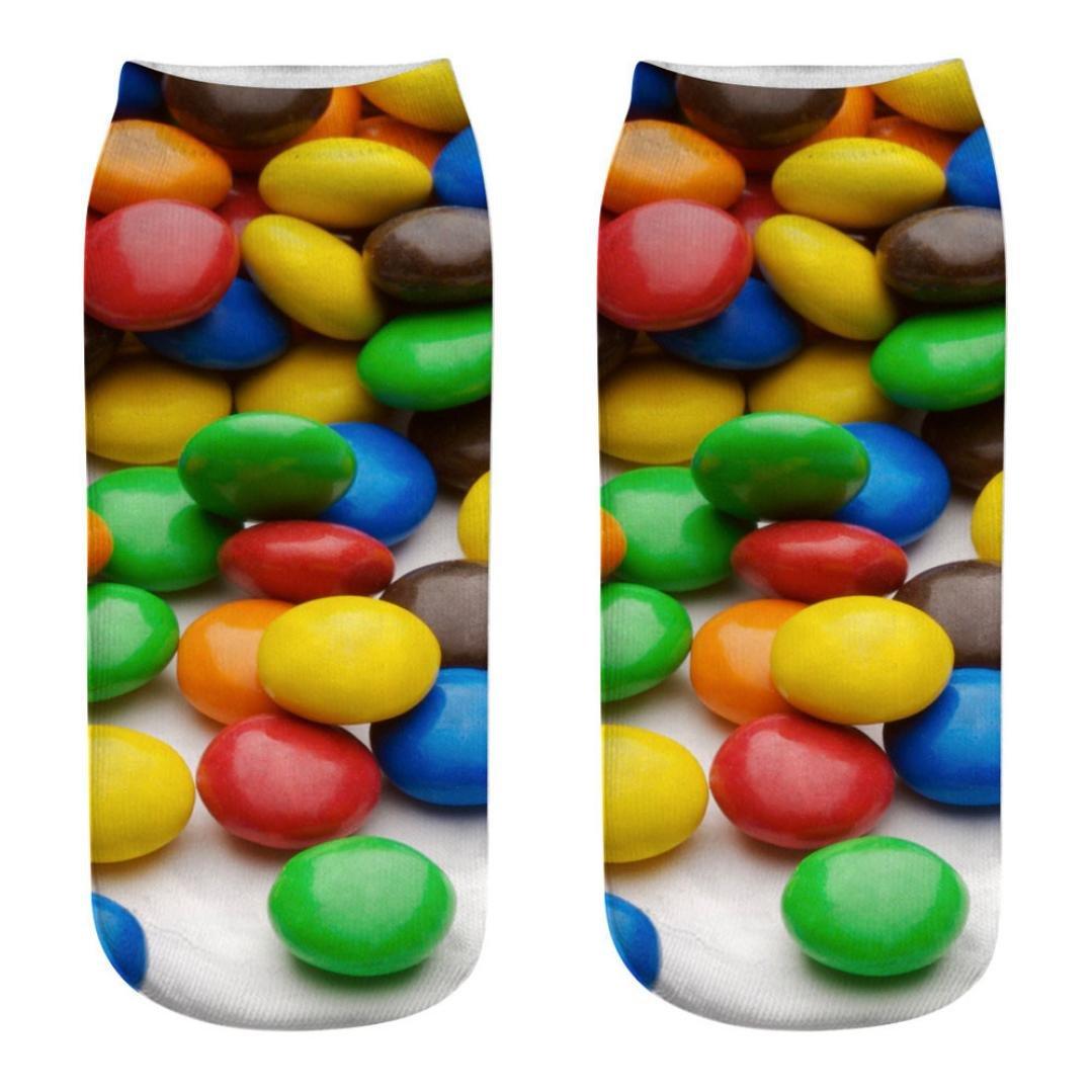 YJYdada Cute Casual Cotton Socks 3D Candy Printing Medium Socks Socks Sports Socks (J)