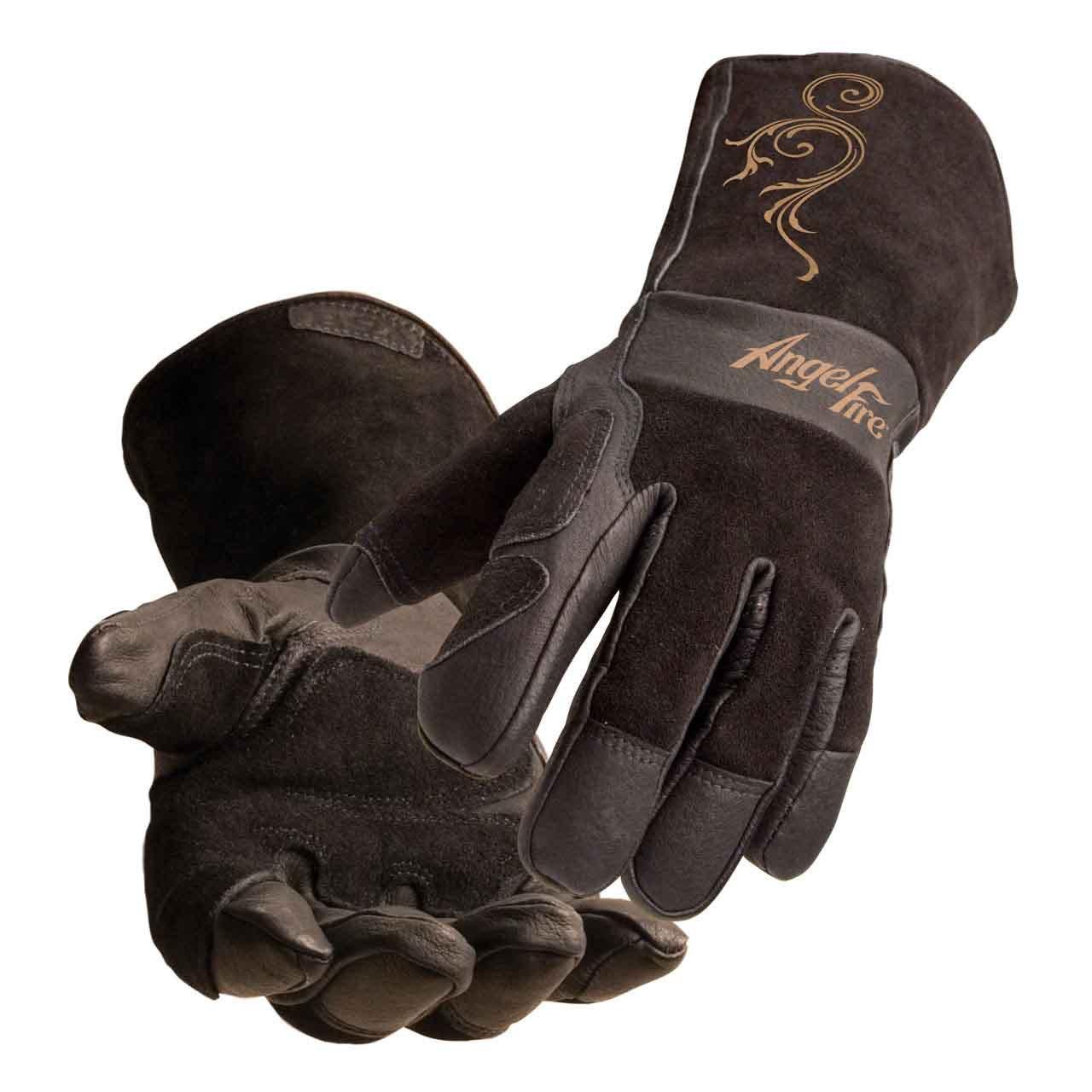 BSX® AngelFire® Women's Stick/MIG Welding Gloves - Black with Flourish by Black Stallion