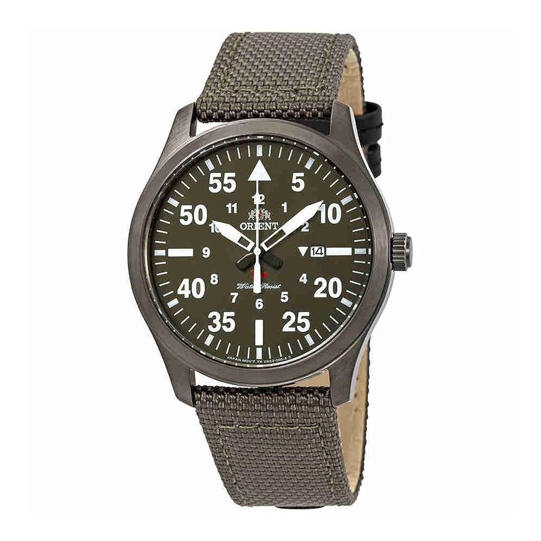 Orientフライトグリーンダイヤルグリーンキャンバスメンズ腕時計fung2004 F B07DKW35XT